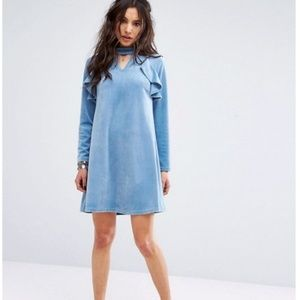 Asos Baby Blue Velvet Ruffle Detail Dress M